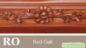 Red Oak, waran natural, warna mahoni, contoh warna finishing, model finishing