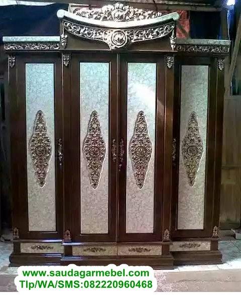 Mebel Jati Kota Aceh, Lemari Pakaian 4 Pintu Jati Jepara
