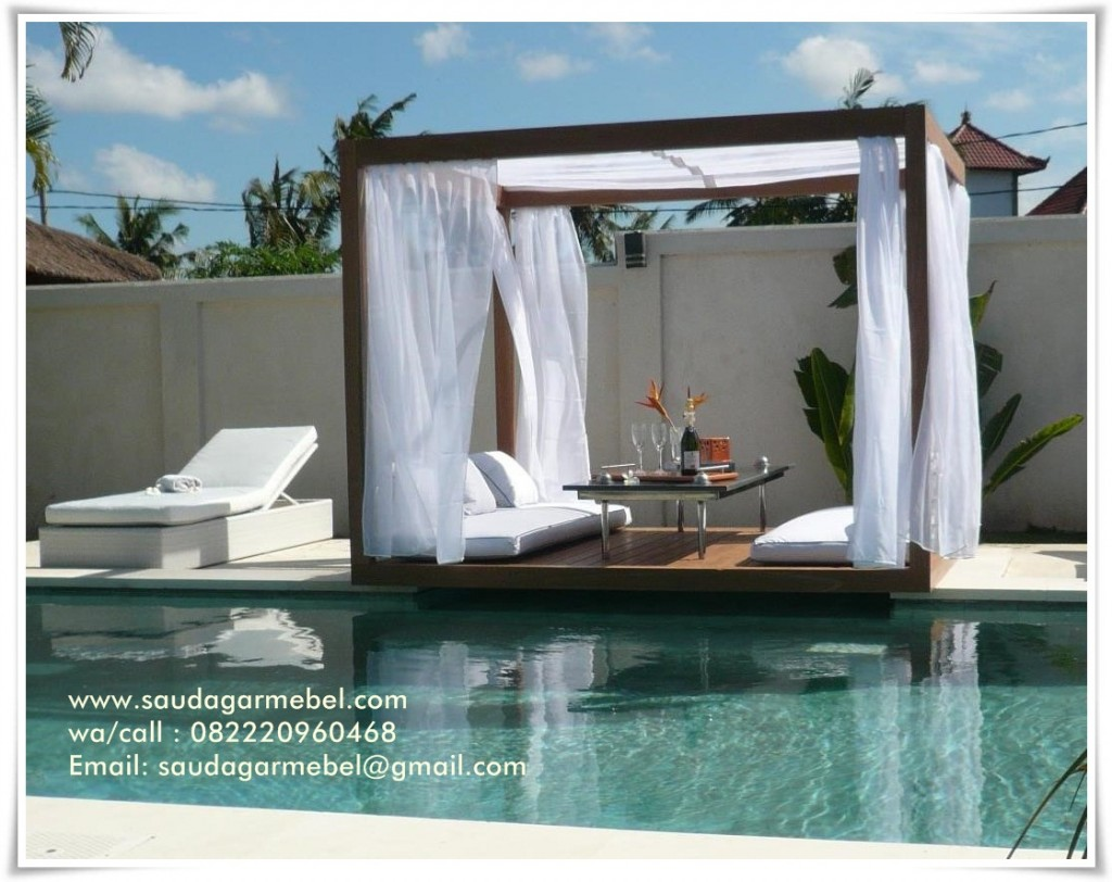 Garden Gazebo Main Pool, Gazebo Outdoor, Outdoor Bed In Main Pool, Gazebo Balines, Garden Gazebo Outdoor