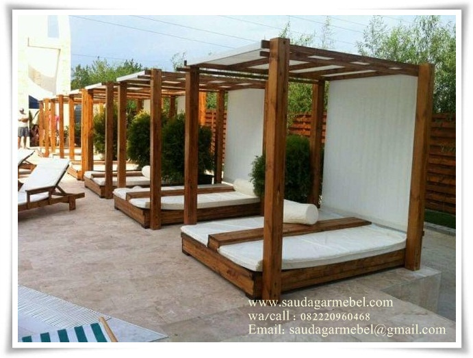 Outdoor Bed Taman Rumah, Outdoor Bed Kolam Renang, Furniture Taman, Furniture Taman Model Tempat Tidur, Furniture Minimalis, Furniture Bali, Outdoor Furniture Balinesa