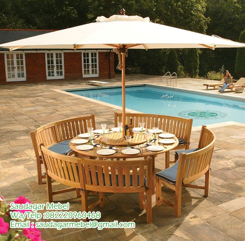 Teak Patio Umberella Garden Minimalis, teak bes, teak beach, teak garden, furniture minimalis, furniture indonesia, furniture jepara, teak round umberela, teak