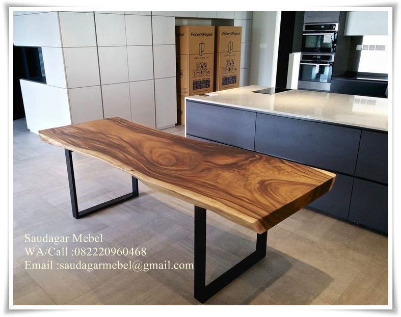 Dark Walnut Dining Table Trembesi, dining table, sets dinin table, black walnut dining table, Natural dining table, black walnut table, Minimalis table, dining set