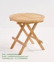Small Round Folding Table Solid Wood