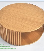 Betty Coastal Wood Round Coffee Table