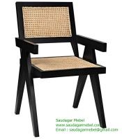 Beach Woven Natural Black Teak Wood Arm Chair