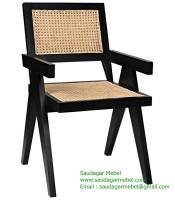 Beach Woven Natural Black Teak Wood Arm Chair
