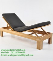 Palm Teak Sun Lounger Solid Wood